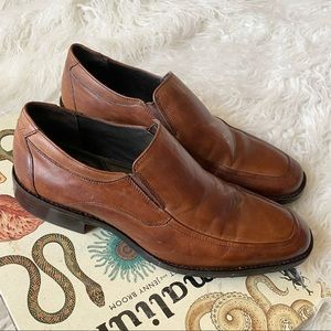 Johnston & Murphy brown leather slip on loafers
